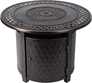 Fire Sense Wagner Round Aluminum LPG Fire Pit Table | Antique Bronze Finish | 25,000 BTU Output | Uses 20 Pound Propane Tank | Fire Bowl Lid, Vinyl Weather Cover, and Clear Fire Glass Included |