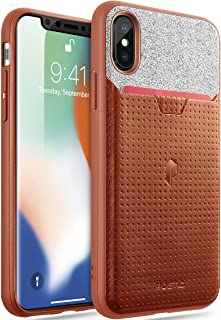 iPhone X Credit Card Case, Poetic Nubuck [Credit Card Slot] [Pull-Tab] iPhone X Credit Card ID Slot Case - Stylish Thin TPU + Premium Leather Back Case for Apple iPhone X (2017) Brown
