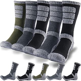 DEARMY 5Pack of Men's Multi Performance Cushioned Athletics Hiking Crew Socks | Moisture Wicking | Year Round