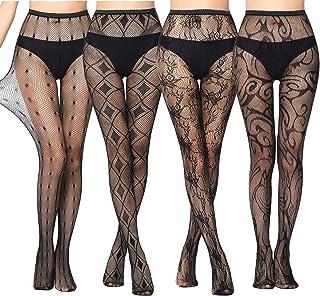 4 Pack Mujer Pantimedias Semi Medias Negras Dibujos Florales Rayas Corazones Costura Pantimedias Semi Opacas Rejillas negro