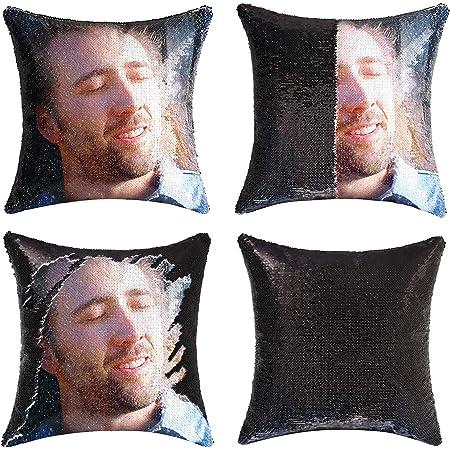 Nicolas Cage Sir/ène Paillettes Pillow Nicolas Cage Face r/éversible /à Paillettes Housse de Coussin Taie doreiller en sequins sir/ène taie doreiller paillette Housse de Coussin Cadeau de No/ël 40x40cm