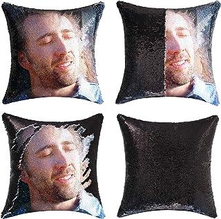 cygnus Nicolas Cage Sequin Pillow Cover Magic Mermaid Reversible Pillowcase That Color Changes Home Decor Throw Pillow Cas...