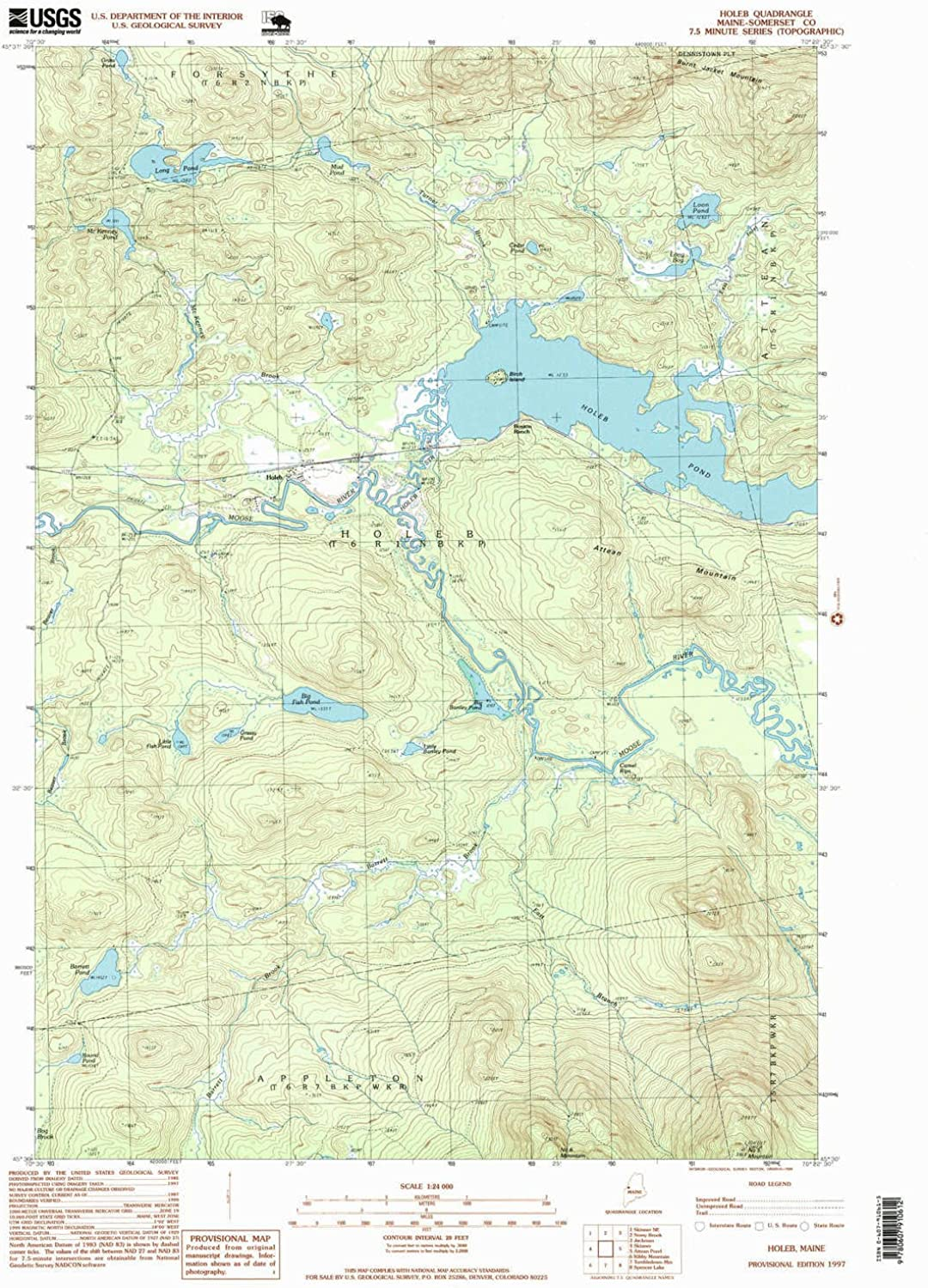 Holeb ME topo map, 1 24000 Scale, 7.5 X 7.5 Minute, Historical, 1997, Updated 1999, 26.8 x 21.5 in