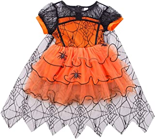 Sasaerucure Toddler Baby Girl Halloween Clothes Short Sleeve Witch Halloween Dress Mesh Tutu Skirt Girls Halloween Costumes