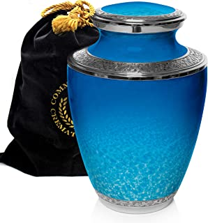Ocean Tranquility Cremation Urns for Adult Ashes for Funeral, Burial, Niche or Columbarium, 100% Brass, Cremation Urns for...