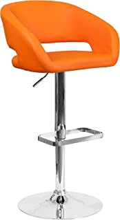 Flash Furniture Contemporary Orange Vinyl Adjustable Height Barstool with Rounded Mid-Back and Chrome Base