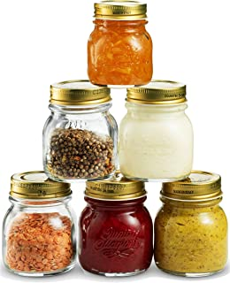 Bormioli Rocco Quattro Stagioni Small Glass Mason Jars 5 Ounce Mini Jars (6-Pack) with Metal Airtight Lid, For Jam, Jelly, baby food, Crafts, Spices, Dry Food Storage, Wedding favors, Decorating Jar