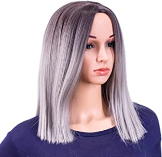 SWACC 14-Inch Short Straight Middle Part Hair Wig Medium Length Synthetic Heat Resistant Wigs for Women with Wig Cap (Gray Ombre)