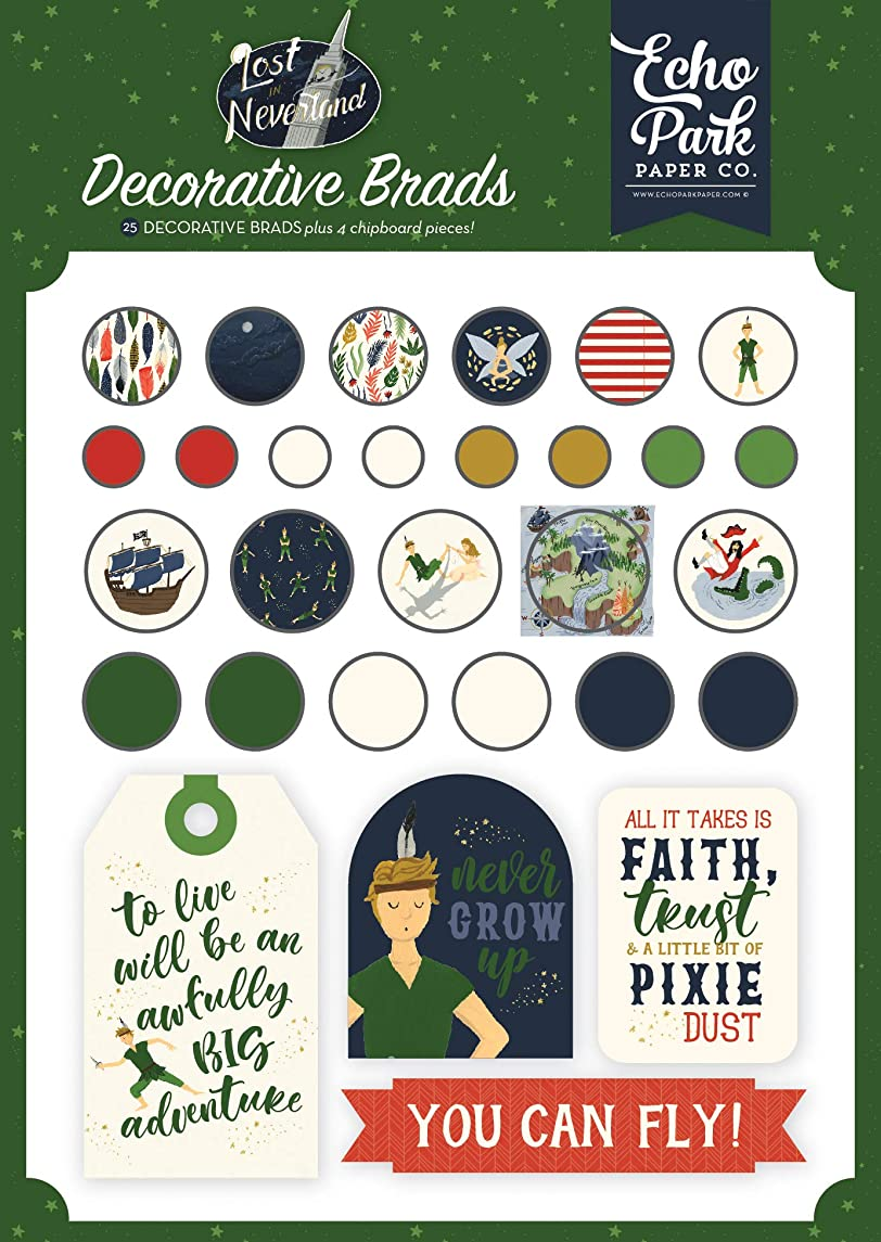 Echo Park Paper Company LIN179020 Lost in Neverland Decorative brads Navy, Green, red, Gold