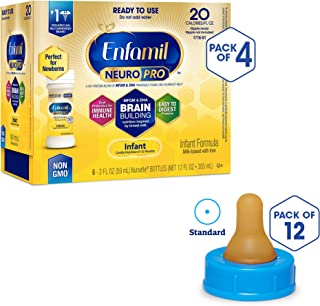 Enfamil NeuroPro Ready to Feed Baby Formula Milk, (24 Count) with Standard Flow Soft Nipples (12 Count), 1 Set