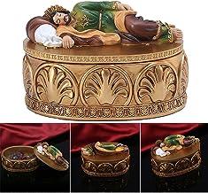 QKFON Retro pudełko do przechowywania chrześcijańska szkatułka na biżuterię ze św. Józefa statuetka na pokrywie żywica rel...
