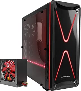 Mars Gaming BLM2, Pack Caja PC ATX + Fuente PC 650W, 2 Ventiladores 120mm, RGB, Negro/Rojo