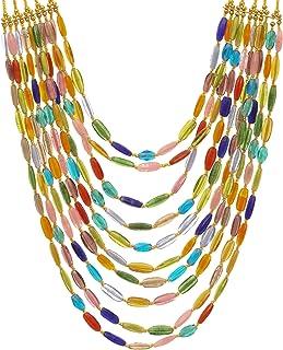 DCA Women's Multi-Colour Multi-Strand Glass Necklace (4427)
