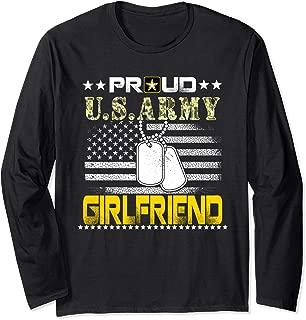 Vintage Proud Girlfriend U.S.Army Veteran Flag Gift Long Sleeve T-Shirt