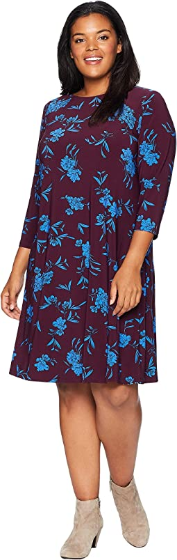 Plus Size Abbi Almonte Floral 3/4 Sleeve Day Dress