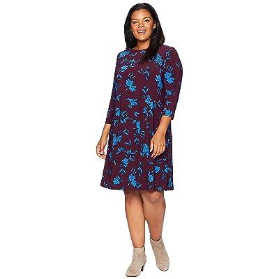 LAUREN Ralph Lauren Plus Size Abbi Almonte Floral 3/4 Sleeve Day Dress (Passion Plum/Riverside Blue) Women