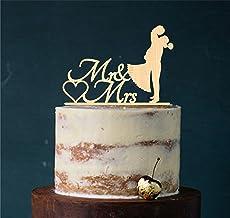 Cake Topper, Kus, taartsteker, taartfiguur acryl, taartstandaard etagère bruiloft bruidstaart taartopsteker (hout natuur)