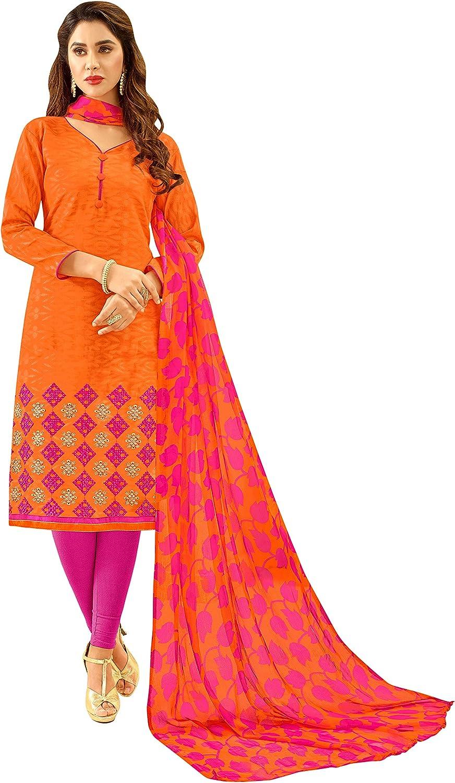 GJ Fashion Panjabi Style Embroidered Regular Wear Churidar Salwar Suit for Women & Girls