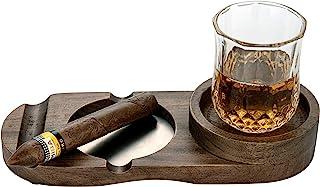 Wooden Cigar Ashtray Wood Solid Cigar Ashtray Whiskey Glass Tray and Cigar Holder, Cigar Slot/Tray, Cigar Whiskey Accessor...