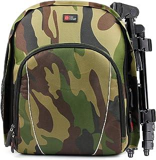 DURAGADGET Sac à dos camouflage résistant à l'eau avec intérieur personnalisable et housse de pluie – Convient pour la con...