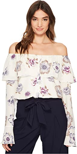 J.O.A. - Off the Shoulder Button Up Top