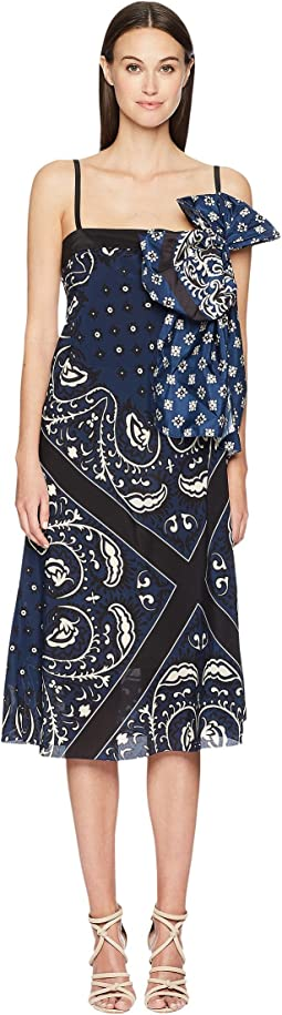 Medium Bandhana Print Silk Crepe De Chine Dress with Taffeta Bandhana Print Bow
