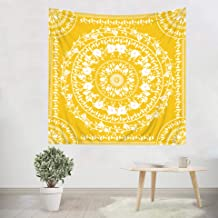 Simpkeely Yellow Floral Medallion Tapestry, Sketched Mandala Bohemian Wall Hanging Tapestries, Indian Art Print Mural for Bedroom Living Room Dorm Home Décor (59.1