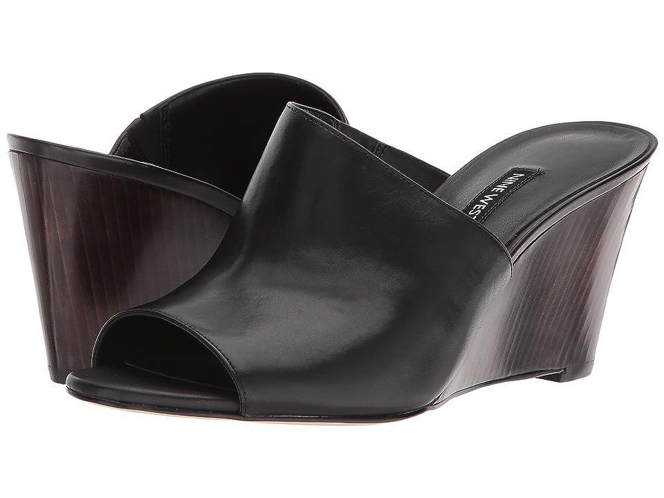 Nine West Janissah Slide Sandal (Black Leather) Women