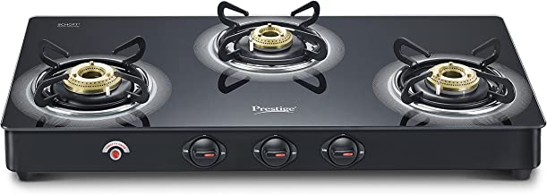 Prestige Royale Plus Schott 3 Burner Gas Stove, Black (Auto Ignition)