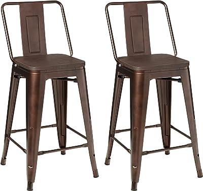 GIA 24-Inch High Back Stool, 2-Pack, Coffee/Dark Wood Seat