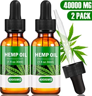 (2-Pack) Hemp Oil Extract for Pain & Stress Relief - 40000mg Organic Hemp Extract - 100% Natural Hemp Drops - Rich in Omega 3-6-9 Fatty Acids Helps with Sleep, Skin & Hair