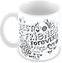 Tuelip Printed Best Friends Forever Design on Simple Paper Ceramic Tea and Coffee Ceramic Mug, 350ml, White