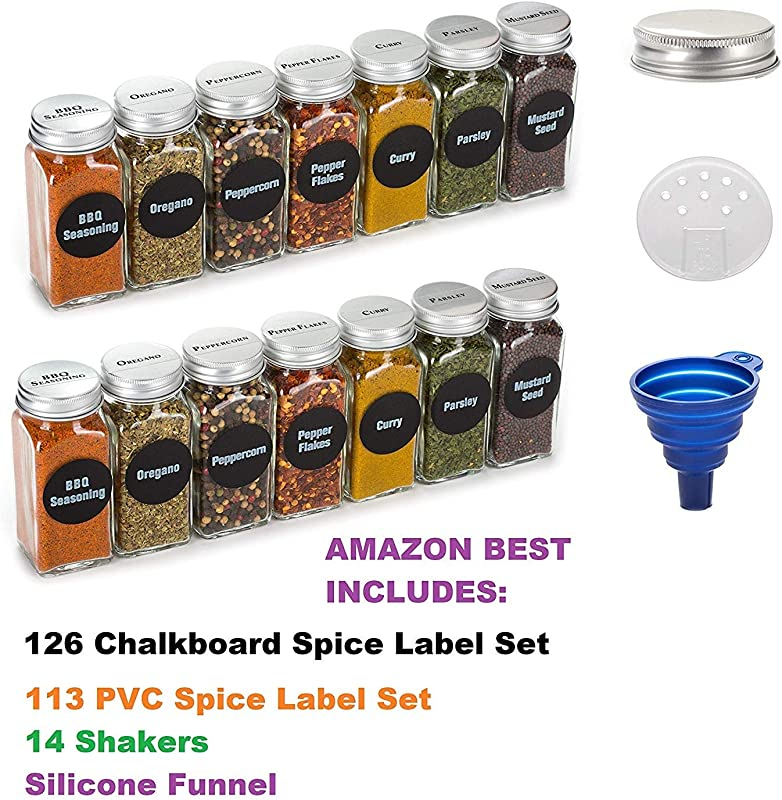 6oz BEST VALUE 14 Large Glass Spice Jars Includes Pre Printed 126 Chalkboard Spice Labels Plus 113 PVC Clear Labels 14 Square Empty Jars Airtight Cap Kitchen Funnel Pour Sift Shakers