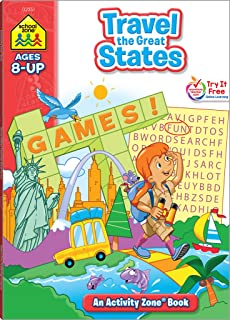 School Zone - Travel the Great States Workbook - 64 Pages, Ages 8 and Up, Geography, Maps, United States, and More (School Zone Activity Zone Workbook Series)