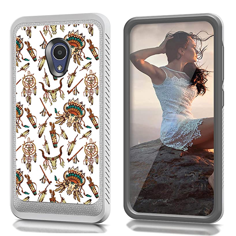 CASECREATOR[TM] CS4 Hybrid Case is Compatible with Alcatel 1X Evolve/Ideal Xtra 5059R (Unlocked)~ Black Silver-Tribal Elements