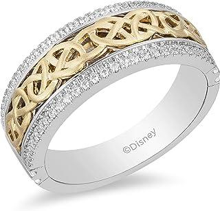 مجوهرات Jwelili Enchanted Disney Fine Jewelry 14K ذهب أبيض وأصفر 1/4 Cttw خاتم رجالي - مستوحى من Merida Celtic Knot.