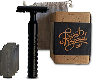 HARVEST BEARD Shaving Kit for Men - Best Disposable Personal Razor Blade Plus Handle Pack with Replacement Blades for Face and Body. Shave Sensitive Skin Hair, Head and Beard with Mens Shaver Set