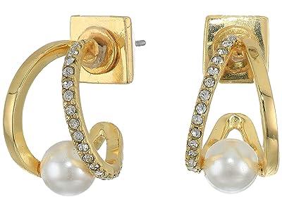Vince Camuto Wedged Pearl Huggies Earrings (Gold/Crystal/Ivory Pearl) Earring