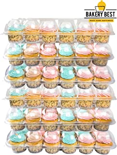 BAKERY BEST [6 Pack X 24 Counts] Cupcake Carrier holds 24 Cupcakes   Plastic Container, Storage Tray   Transport 144 cupcakes or muffins   Unhinged Lid   Non-Slip, Stackable