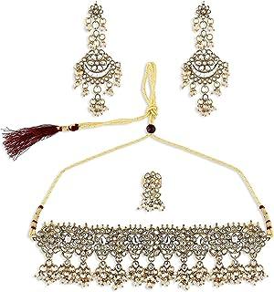 Zaveri Pearls Antique Gold Tone Kundan Choker Necklace Earring & Ring Set For Women-ZPFK10809
