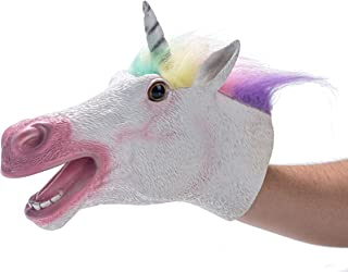 Yolococa Hand Puppet Toys,Soft Rubber Realistic Unicorn Head,Birthday Gifts for Kids, Animal Toys