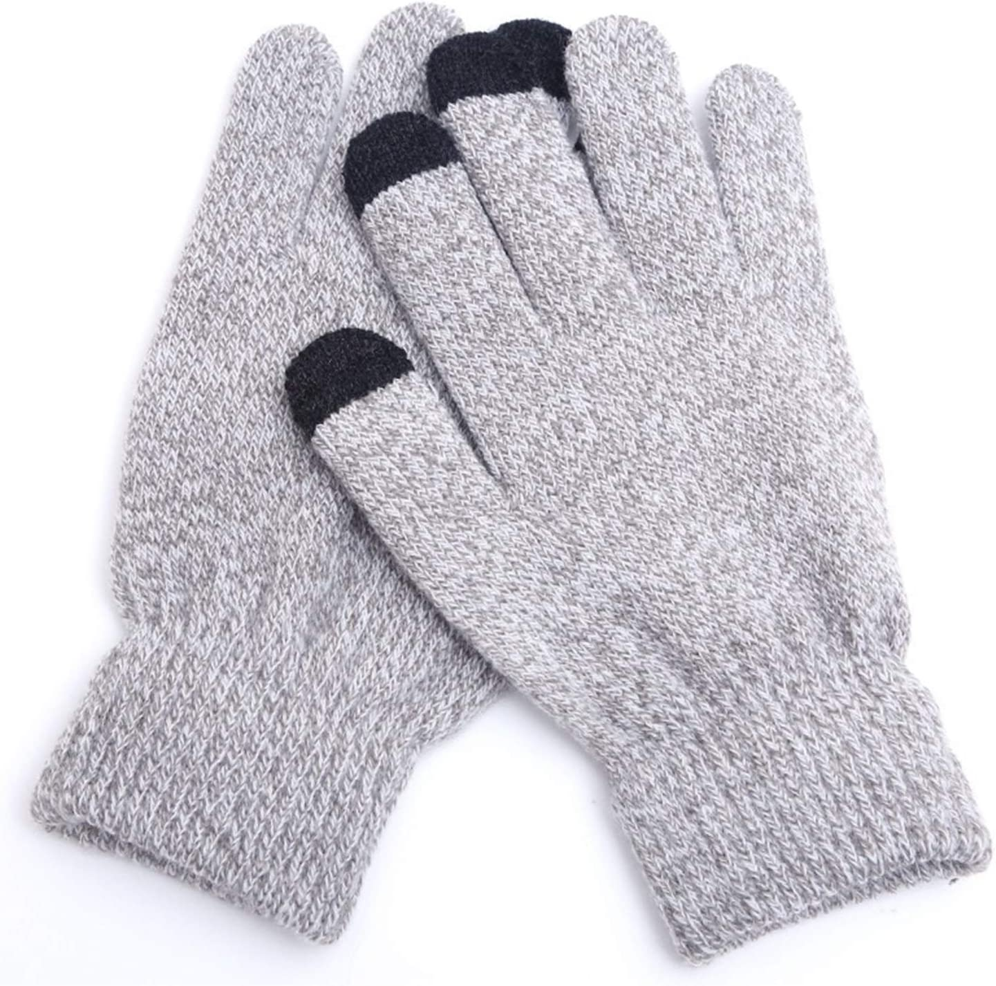 JBIVWW Unisex Winter Knitting Touch Screen Gloves Solid Fashion Thick Keep Warm Mitten Spring Autumn Non-Slip Woman Man Glove (Color : 05 Gray White, Gloves Size : One Size)