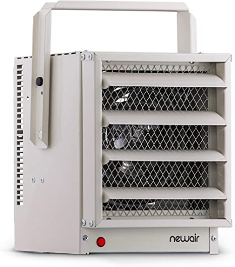 """NewAir Portable Garage Heater, Ceiling Mountable Hardwired Electric Heat with Adjustable Louvers, Heats up to 500 sq ft, G73, Ivory, 8.90""""D x 9.10""""W x 11.25""""H, White: image"""