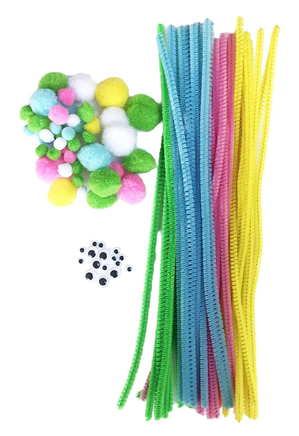 Easter Themed Crafting Chenille Stems Googly Eyes & Pompoms DIY Craft Set (102 Piece)