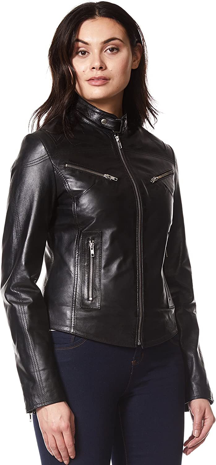 'Speed' Ladies Black Cool Retro Biker Style Fitted Motorcycle Leather Jacket