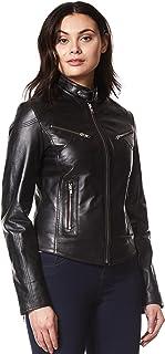 Smart Range Women's Speed Cool Retro Black Biker Style Fitted Motorcycle Leather Jacket SR-01