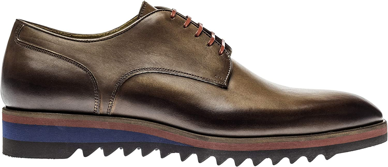 Jose Real Shoes - Made in Italy - Handpainted - Men's Oxford Genuine Italian Leather Shoes - Marone Nuovo