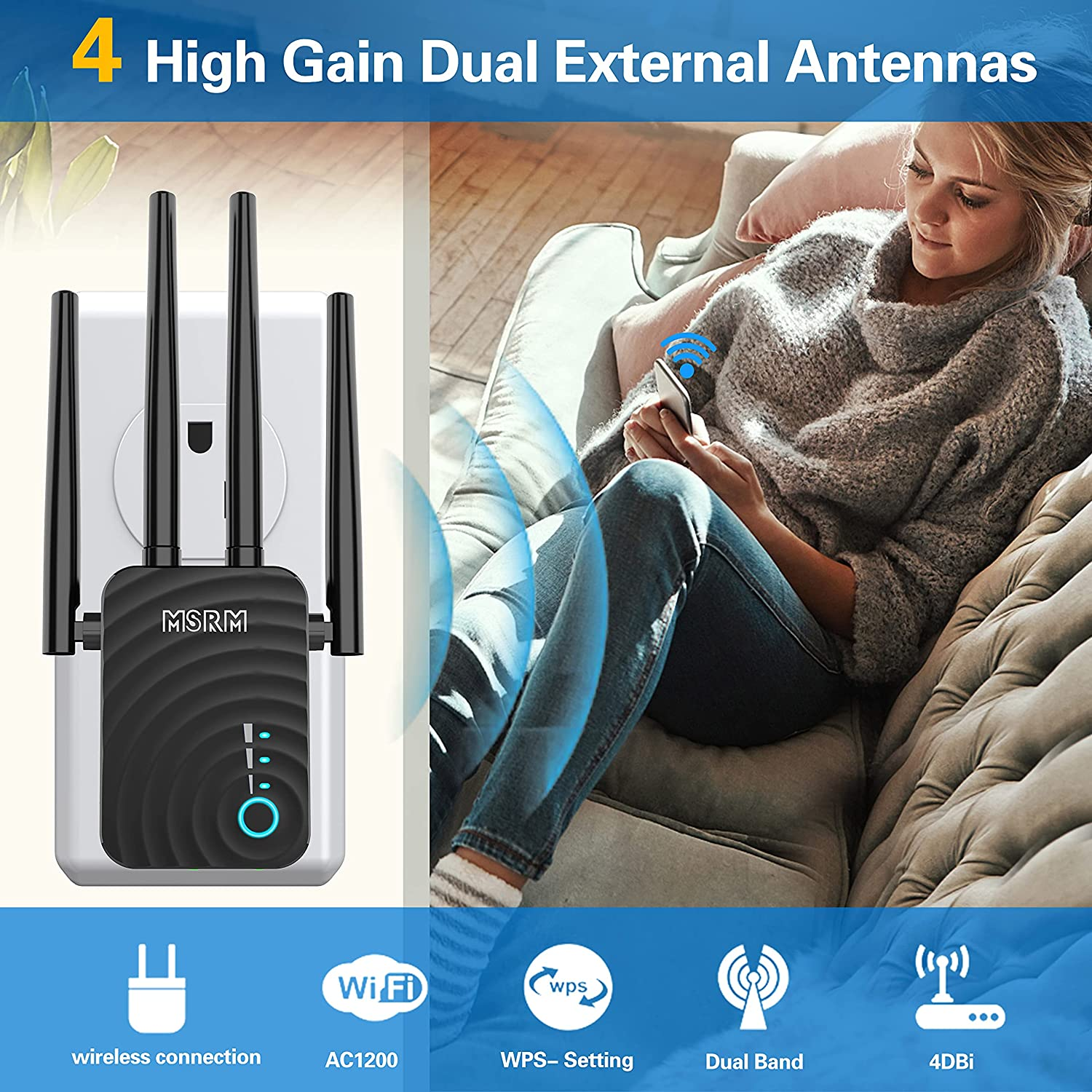 2021 Upgraded WiFi Extender WiFi Range Extender Wireless Internet Booster Cover up to 3000 sq.ft & 30 Device Wireless Signal Booster Repeater