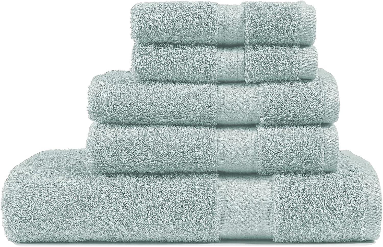 5 Piece Blue Bath Towel Set, 100% Combed Cotton Towels, Shower Towel, 600 GSM Luxury Bath Towels, Plush and Absorbent Bathroom Towel, (1 Bath Towel 2 Hand Towels 2 Washcloths) - Blue