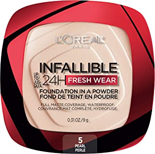 L'Oreal Paris Infallible Fresh Wear Foundation in a Powder, Up to 24H Wear, Pearl, 0.31 oz.
